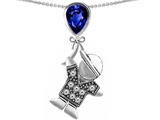 Star K™ Boy Holding a Balloon Mother September Birth Month Pear Shape Created Sapphire Pendant Necklace style: 303422