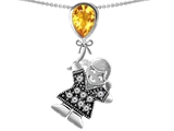 Original Star K™ Little Girl Holding a Balloon Mother Birthstone Genuine Citrine Pendant