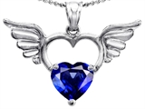 Original Star K Wings Of Love Birthstone Pendant with 8mm Heart Shape Created Sapphire
