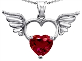 Original Star K Wings Of Love Birthstone Pendant with 8mm Heart Shape Created Ruby