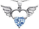 Original Star K Wings Of Love Birthstone Pendant with 8mm Heart Shape Simulated Aquamarine