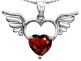 Original Star K Wings Of Love Birthstone Pendant with Genuine 8mm Heart Shape Garnet
