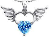 Original Star K Wings Of Love Birthstone Pendant with Genuine 8mm Heart Shape Blue Topaz