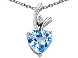 Original Star K Genuine Heart Shape 8mm Light Sky Blue Topaz Pendant