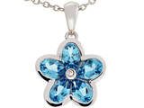 Tommaso Design™ .85 inch long Flower Pendant made with one Diamond and Genuine Pear Shape Blue Topaz.