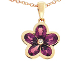 Tommaso Design .85 inch long Flower Pendant made with one Diamond and Genuine Pear Shape Rhodolite Garnet.