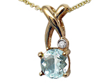 Tommaso Design™ X Shape Designer Inspired Pendant with Diamond and Genuine Checkerboard Cut Aquamarine