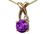 Tommaso Design™ X Shape Designer Inspired Pendant with Diamond and Genuine Checkerboard Cut Amethyst