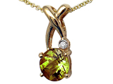 Tommaso Design™ X Shape Designer Inspired Pendant with Diamond and Genuine Checkerboard Cut Peridot style: 303466