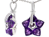 Tommaso Design™ 1inch long Designer Flower Pendant made with Diamonds and Genuine Custom Cut Amethyst. style: 303468