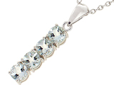 Tommaso Design™ 1inch long Genuine Aquamarine Straight Journey Pendant