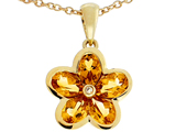 Tommaso Design .85 inch long Flower Pendant made with one Diamond and Genuine Pear Shape Citrine.