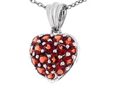 Tommaso Design 1inch Puffed Heart with Genuine Garnet Pendant