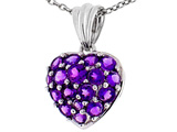 Tommaso Design™ 1inch Puffed Heart with Genuine Amethyst Pendant