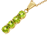 Tommaso Design™ 1inch long Genuine Peridot Straight Journey Pendant style: 303481