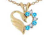 Tommaso Design Heart Shaped Love Swan Pendant with Genuine Blue Topaz and Diamonds.