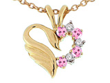 Tommaso Design™ Heart Shaped Love Swan Pendant with Genuine Pink Sapphire and Diamonds.