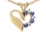 Tommaso Design Heart Shaped Love Swan Pendant with Genuine Sapphire and Diamonds.