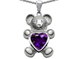 Original Star K™ Love Bear Holding Birthstone of February 8mm Heart Shape Simulated Amethyst