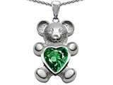 Original Star K™ Love Bear Holding Birthstone of May 8mm Heart Shape Simulated Emerald