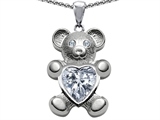 Original Star K Love Bear Holding Birthstone of April Genuine Heart Shape White Topaz