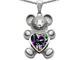 Original Star K Love Bear Holding 8mm Heart Shape Mystic Rainbow Topaz
