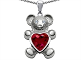 Original Star K Love Bear Holding Birthstone of July 8mm Heart Shape Created Ruby