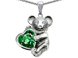 Original Star K™ Love Bear Hugging Birthstone of May 8mm Heart Shape Simulated Emerald