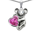 Original Star K™ Love Bear Hugging 8mm Heart Shape Created Pink Sapphire