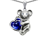 Original Star K Love Bear Hugging Birthstone of September 8mm Heart Shape Created Sapphire