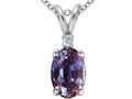Tommaso Design™ Oval 7x5mm Simulated Alexandrite And Genuine Diamond Pendant