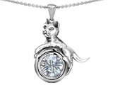 Original Star K™ Cat Lover Pendant with April Birthstone Genuine White Topaz