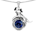 Original Star K Dog Lover Pendant with September Birthstone Round 7mm Created Sapphire