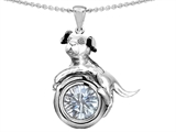 Original Star K™ Dog Lover Pendant with April Birthstone Genuine White Topaz