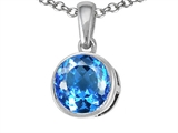 Tommaso Design Genuine Round Blue Topaz Pendant