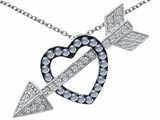 Star K™ Simulated Aquamarine Heart With Love Arrow Pendant Necklace style: 303574