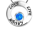 Original Star K Live/Love/Laugh Circle of Life Pendant with October Birthstone Round 7mm Created Blue Opal