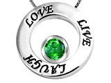 Original Star K™ Live/Love/Laugh Circle of Life Pendant with May Birthstone Round 7mm Simulated Emerald