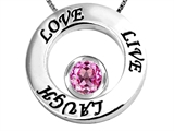 Original Star K Live/Love/Laugh Circle of Life Pendant with September Birthstone Round 7mm Created Pink Sapphire