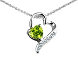 Original Star K 7mm Heart Shape Genuine Peridot Heart Pendant