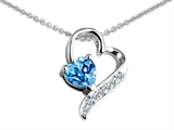 Star K™ 7mm Heart Shape Genuine Blue Topaz Heart Pendant Necklace style: 303595