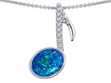 Original Star K Musical Note Pendant With Oval Created Blue Opal