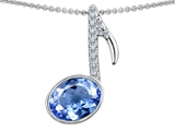 Original Star K Musical Note Pendant With Simulated Aquamarine Oval 11x9