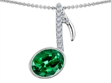 Original Star K™ Musical Note Pendant With Simulated Emerald Oval 11x9