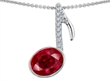 Original Star K Musical Note Pendant With Created Ruby Oval 11x9
