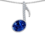 Original Star K Musical Note Pendant With Created Sapphire Oval 11x9
