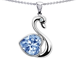Original Star K 1inch Love Swan Pendant With Simulated Heart Shape Aquamarine.