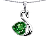 Original Star K™ Large Love Swan Pendant With 8mm Simulated Emerald.