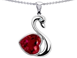 Star K™ Large Love Swan Pendant Necklace With 8mm Heart Shape Created Ruby. style: 303612