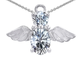 Original Star K™ Angel Of Love Protection Pendant With Oval 8x6mm Genuine White Topaz
